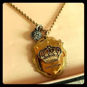 Juicy Couture N-Shield Rhinestone Crown Necklace